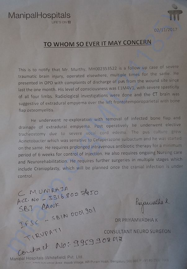 Medical records from manipal hospital doctor