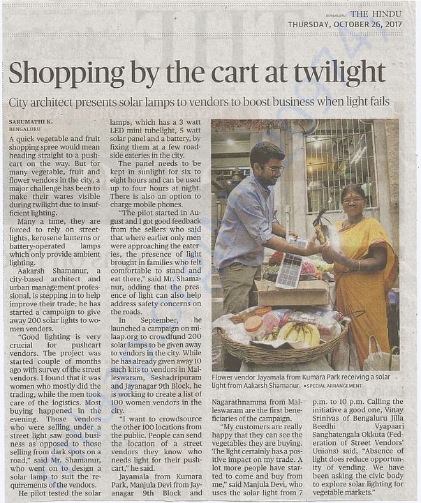 Campaign Coverage in The Hindu, Bengaluru Edition on 26th Oct '17