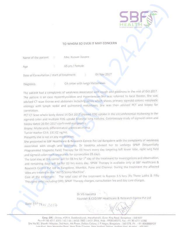 Letter provided by Dr. Vasishth from SBF Health Center