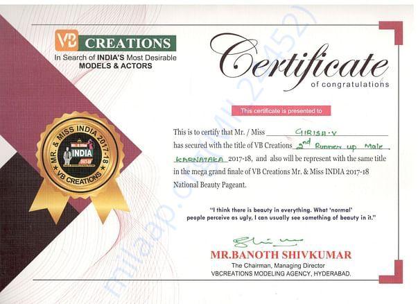 Certificate of Mr. Karnataka