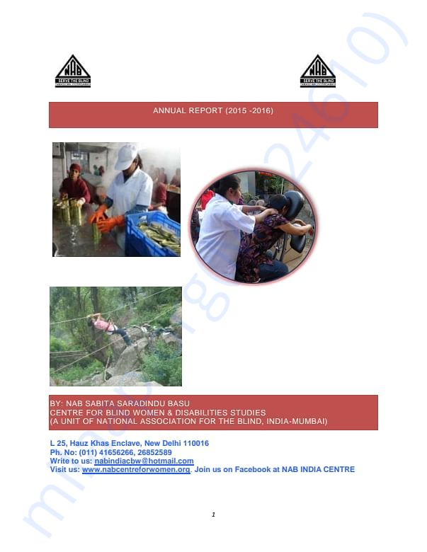 NAB India Centre for Blind Women and Disability Studies Annual Report