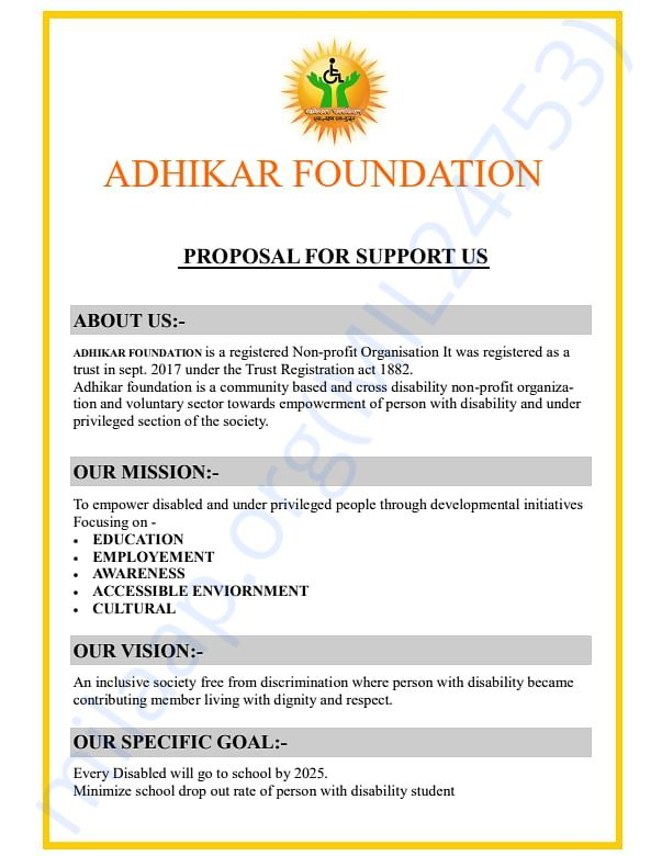 proposal to support our cause