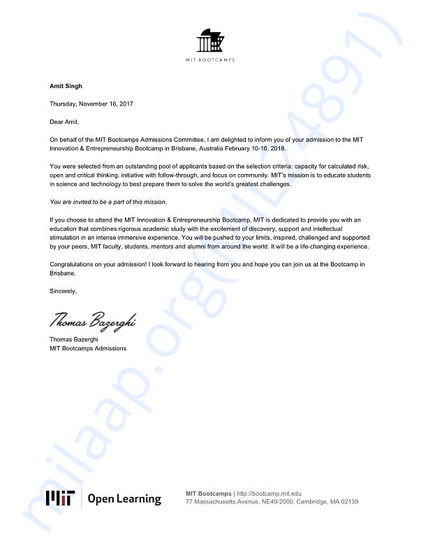 Joining letter for MIT bootcamp program