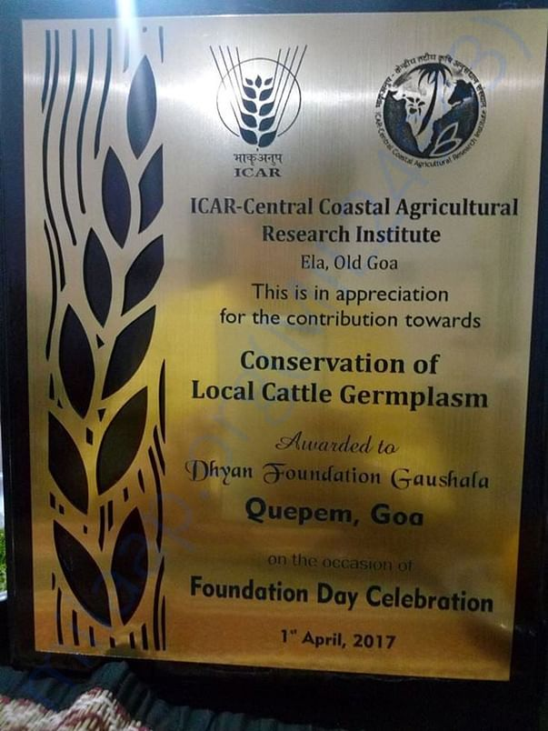 Dhyan Foundation Goa Awarded for their work