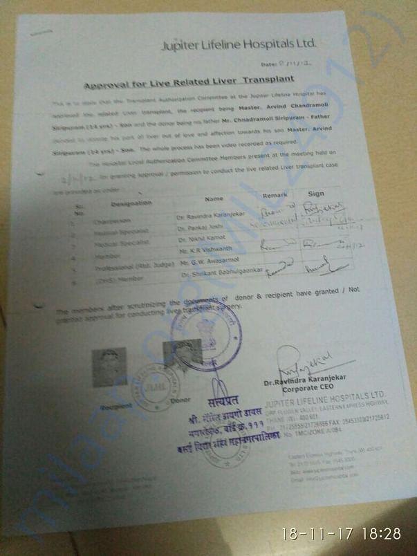 Approval for Liver Transplant