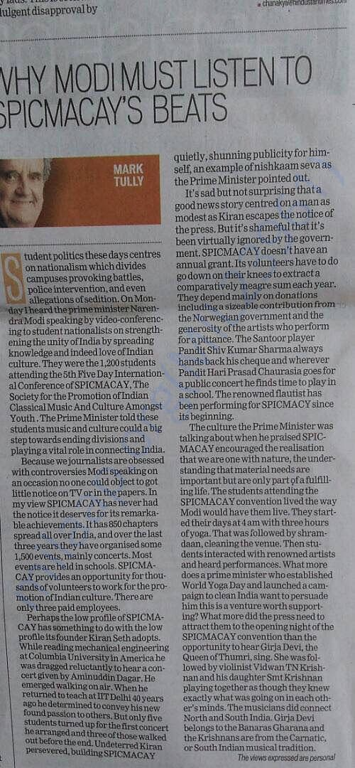 Mark Tully's Artictle on SPIC MACAY