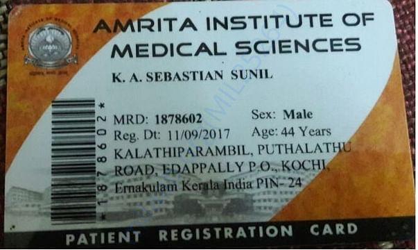 Amrita Institute of Medical Sciences Patient Registration Card
