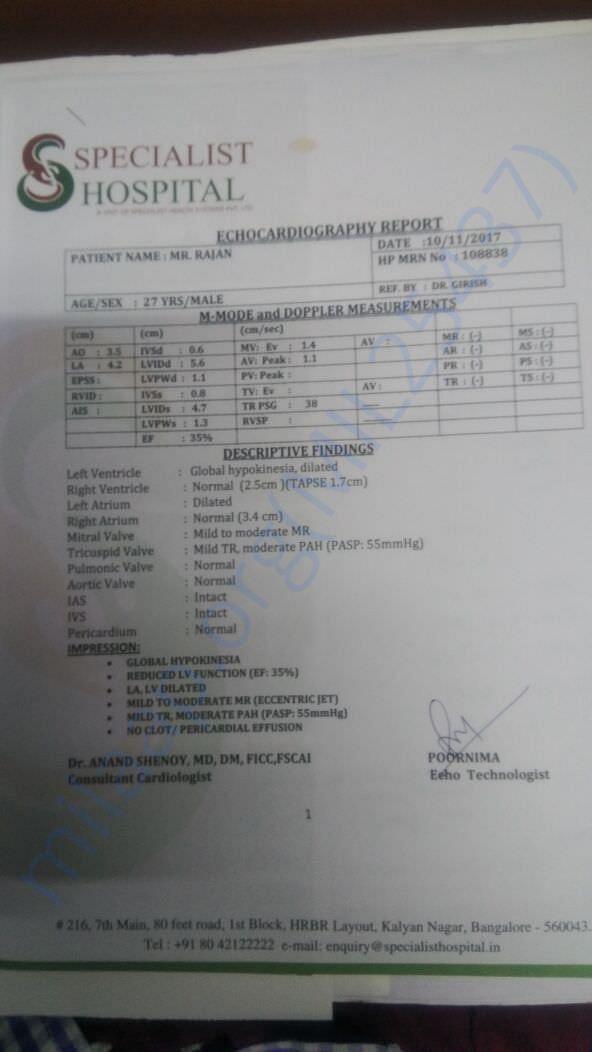 Medical report of Rajan
