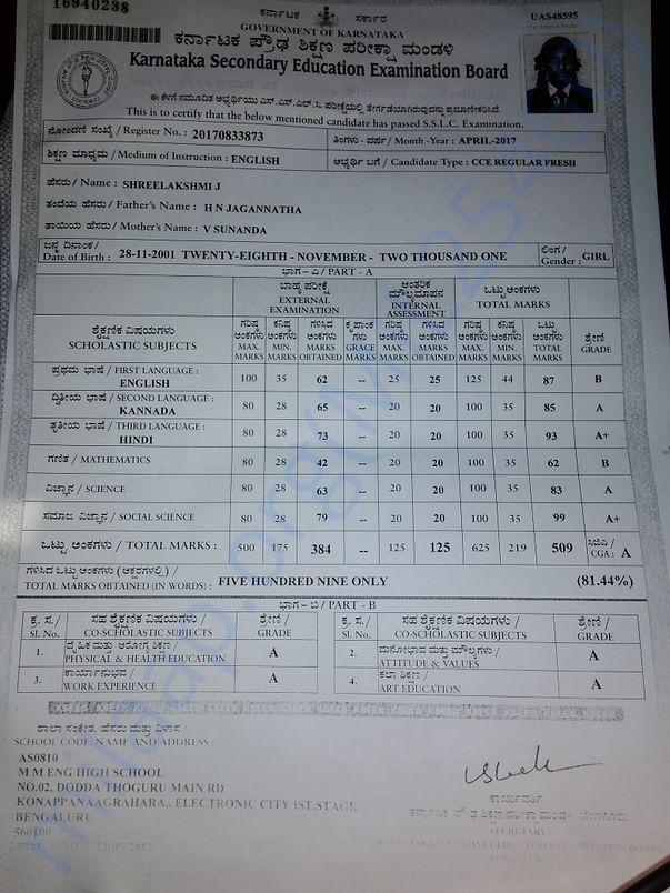Marks card of Shreelakshmi
