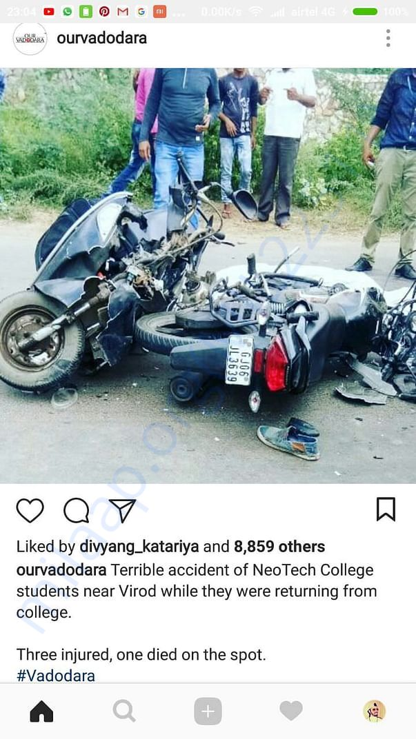 Official instagram article from @ourvadodara regarding the incident.