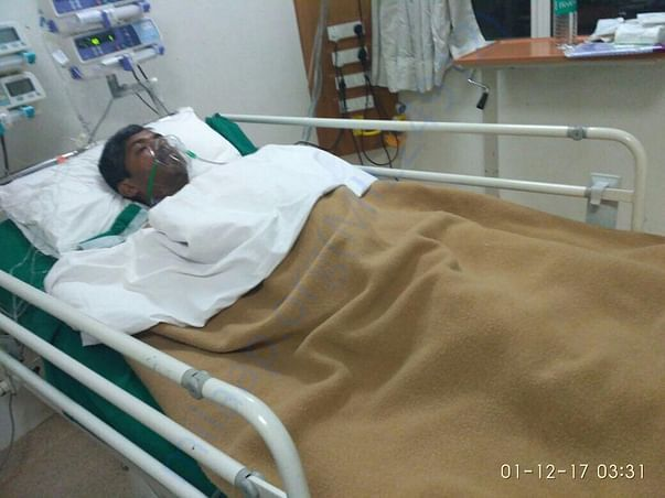 Arvind's Father after surgery , recovering