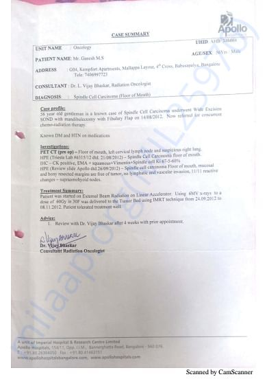 Radiation Report 1st Surgery Aug 2012