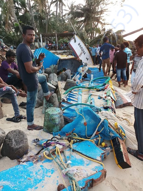 Pieces of fishing boat after cyclone