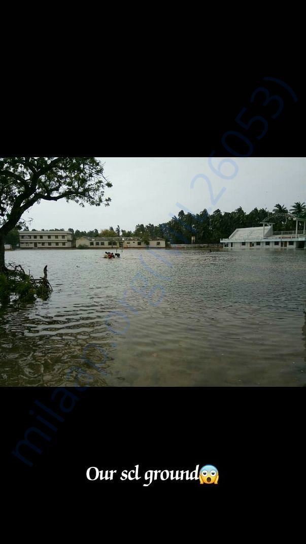 Flooded mini stadium- only play ground in Minicoy Island