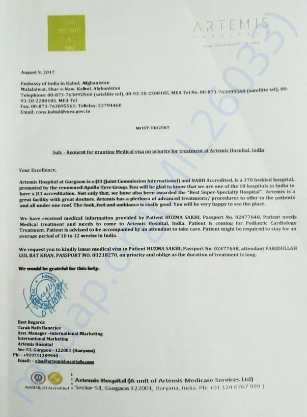 Medical Visa request Artemis
