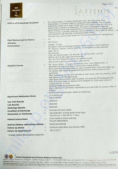 Artemis Catheterization report contd.