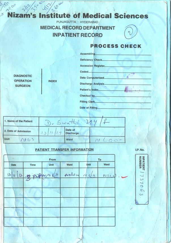 Medical Record of Swathi From Recent Admission at Nizam Hospital.