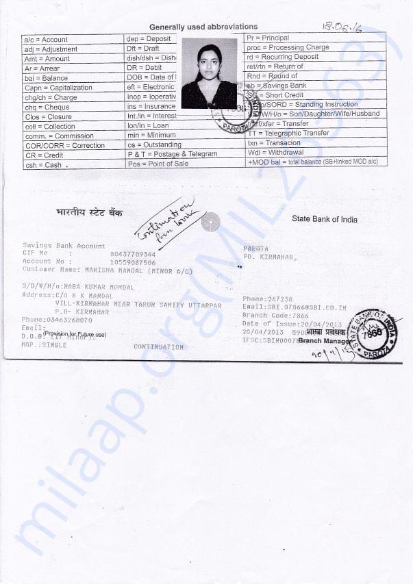 Manisha's Bank Account Details