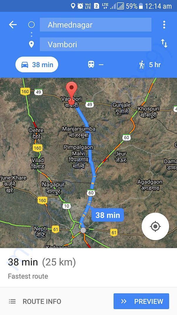 Distance in kilometre from Ahmednagar to Vambori village.