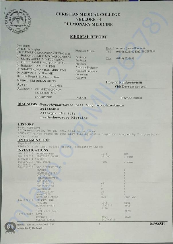 Medical report page 1