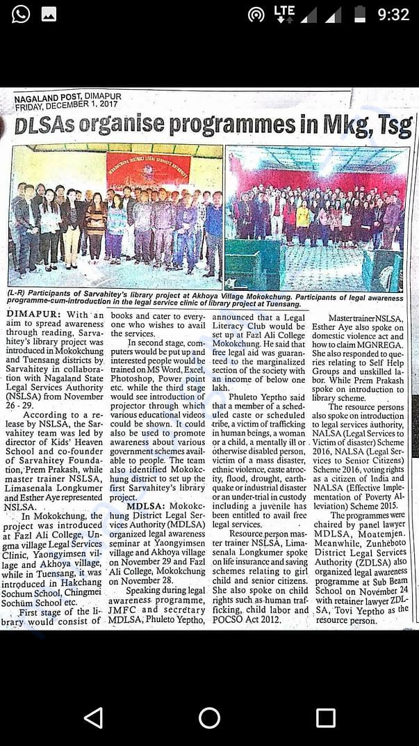 Library project covered by Nagaland Post