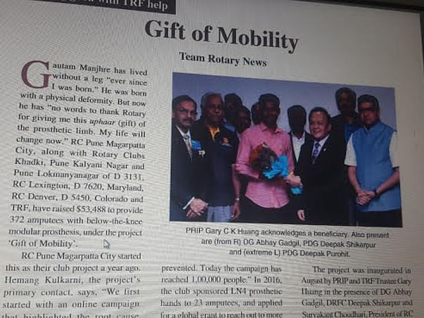 Gift Mobility with Rotary Club of Pune Magarpatta City