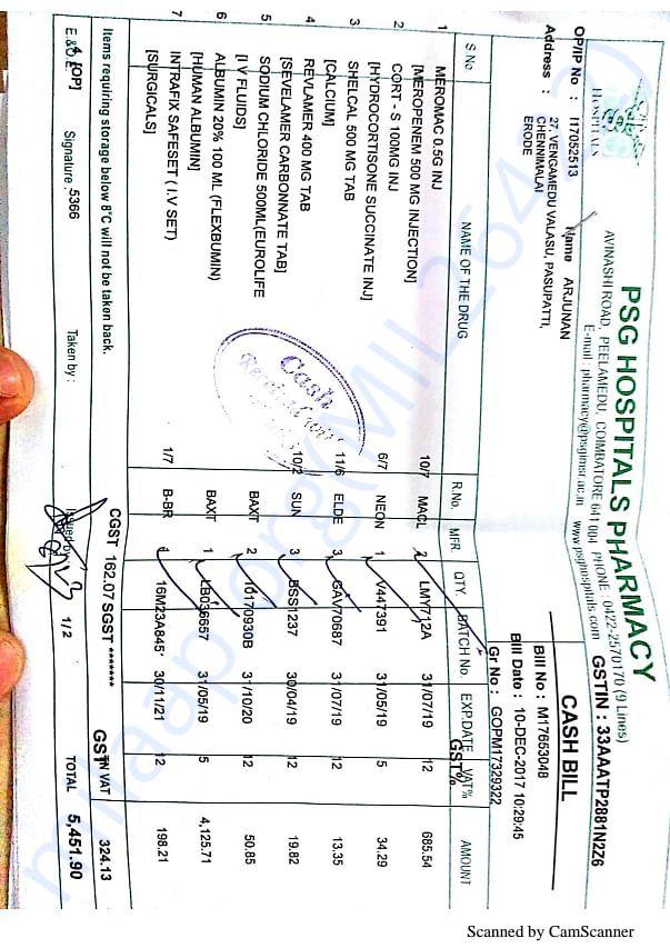 Pharmacy bill dated 11th December