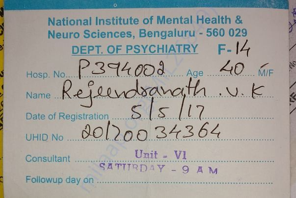 Patient's ID card from NIMHANS banglore