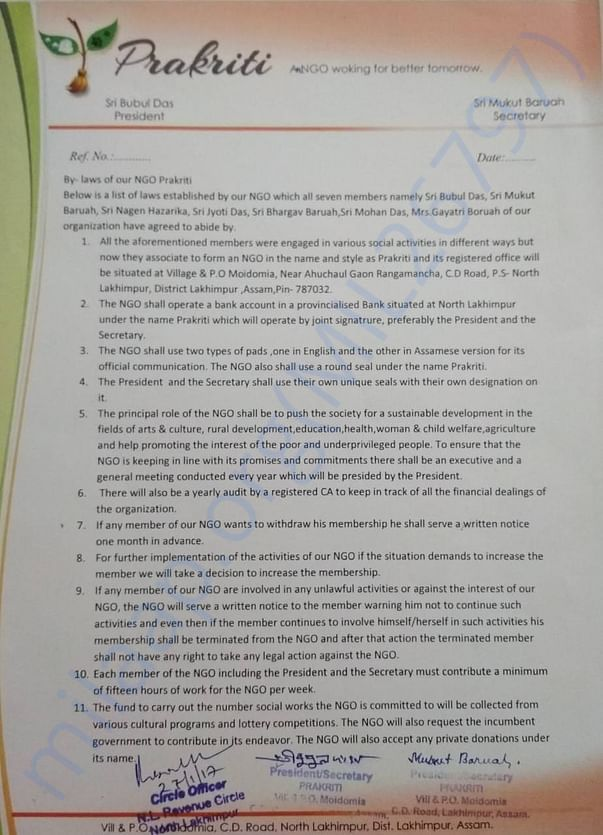 This document provides the detailed By-laws which our NGO came up with