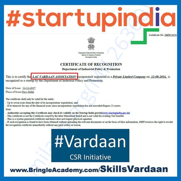#startupindia recognized