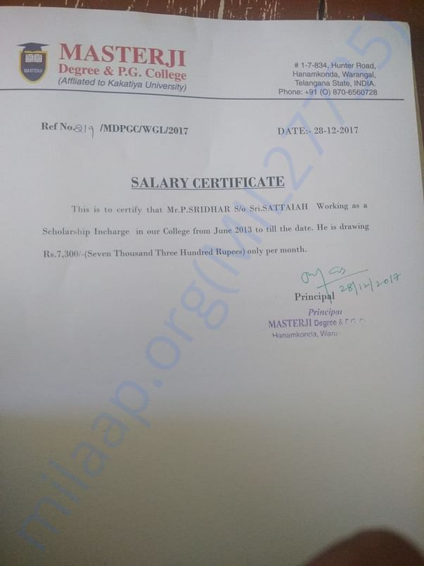 Employer Salary Certificate