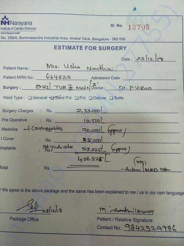 Certificate from Narayana institute of Cardiac science