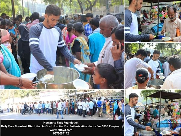 Help me serve daily free breakfast to 1000 patients in Hyderabad