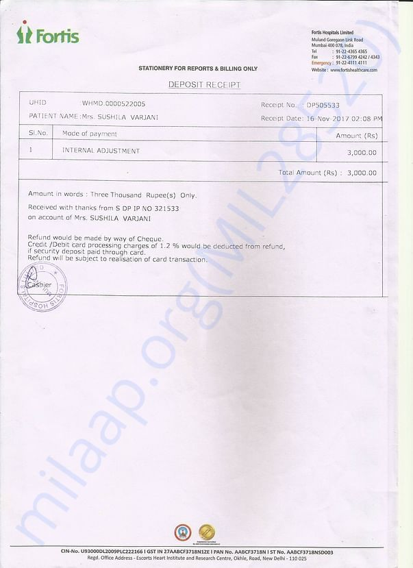 Balance Payment of MRI at Fortis Hospital