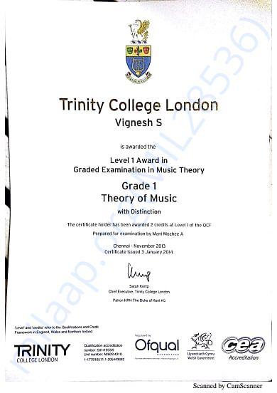 Trinity Grade Exam Cerificates Grade 1 Theory