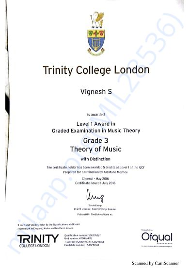 Trinity Grade Exam Cerificates Grade 3 Theory