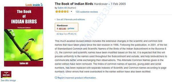 Salim Ali's Book on Indian birds