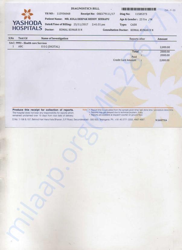 Yashoda Hospital Bills