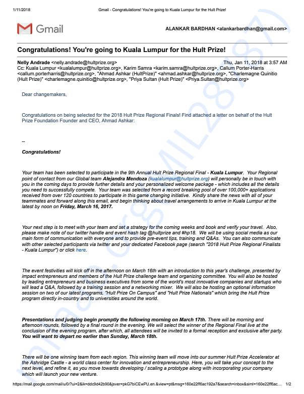 Confirmation Letter for Hult Prize Regionals 2018