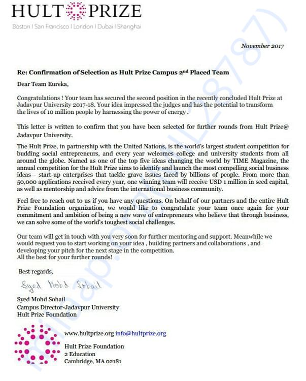 Letter from Hult Prize India after on campus event
