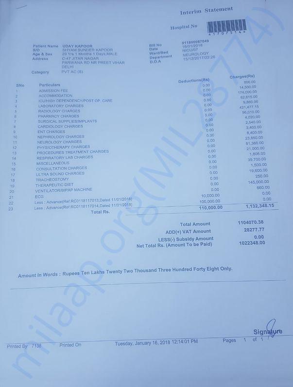 Hospital Bill Till 16th Jan 2018
