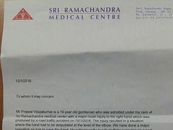 Help a poor priest's son, Prajwal Vijaykumar, get operated