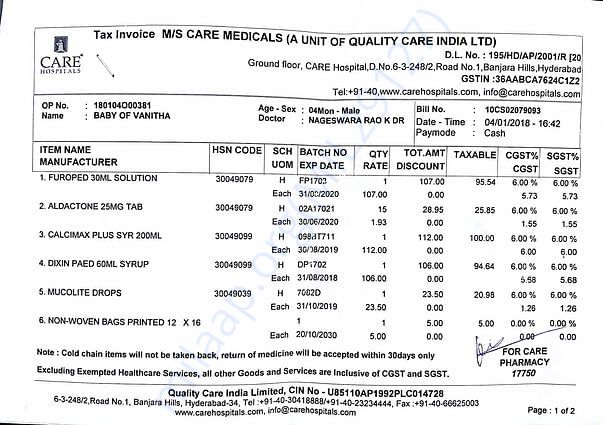 Previous medicals bill