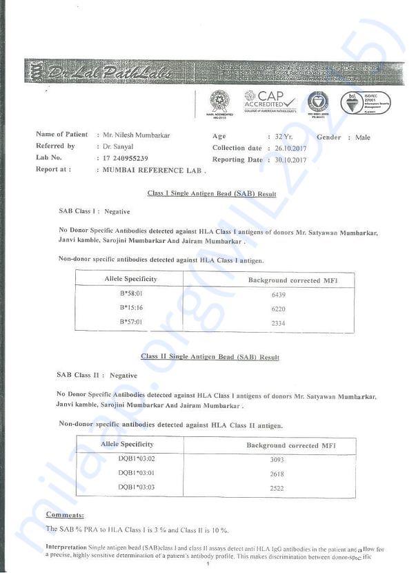 SAB Certificate