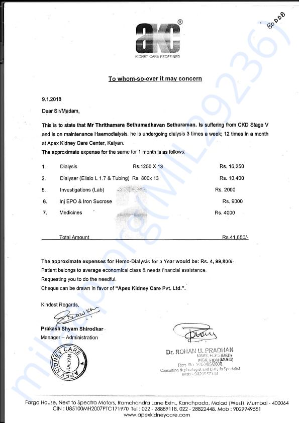 Expense Letter From Apex Kidney Care Hospital. Mumbai