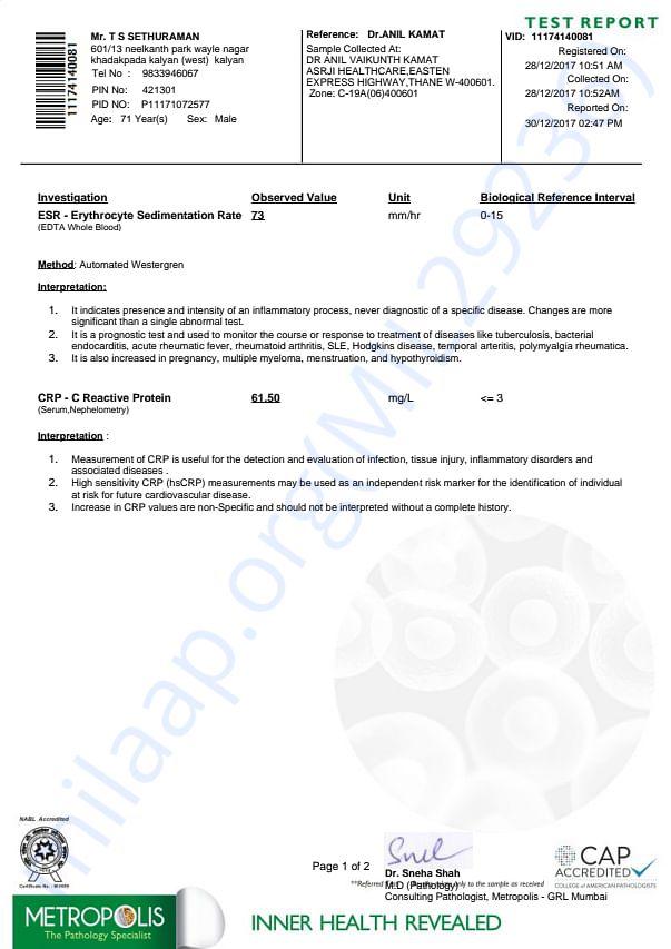 High Tech Blood Test Report