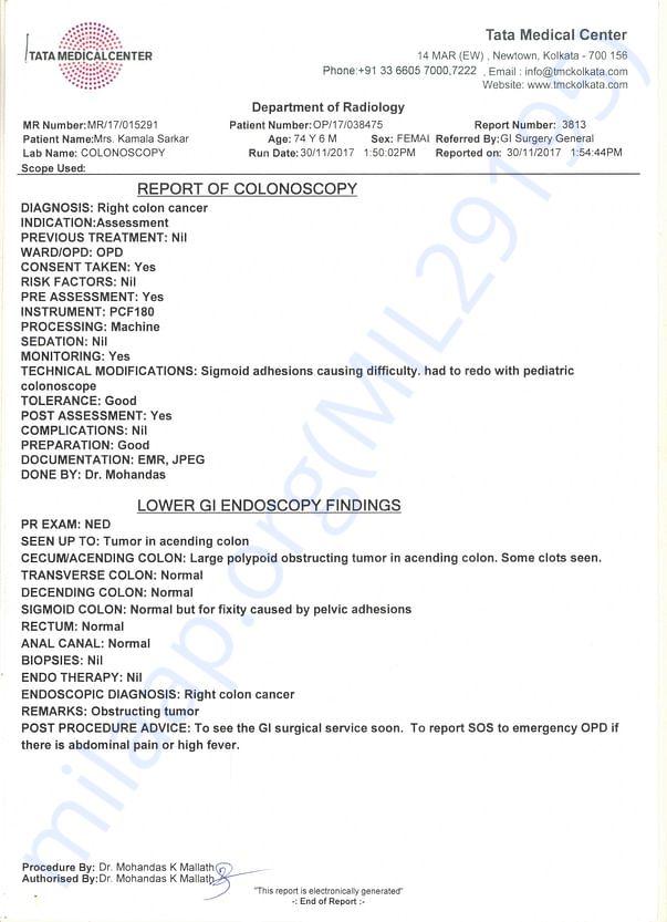 Diagnosis at Tata Medical