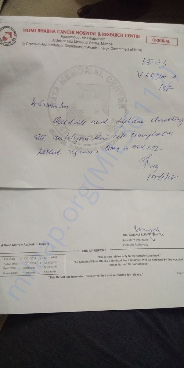 Report from Tata Cancer hospital