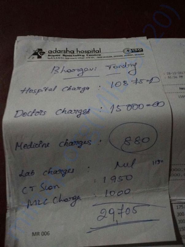 Hospital Bill of Bhargavi Tantry