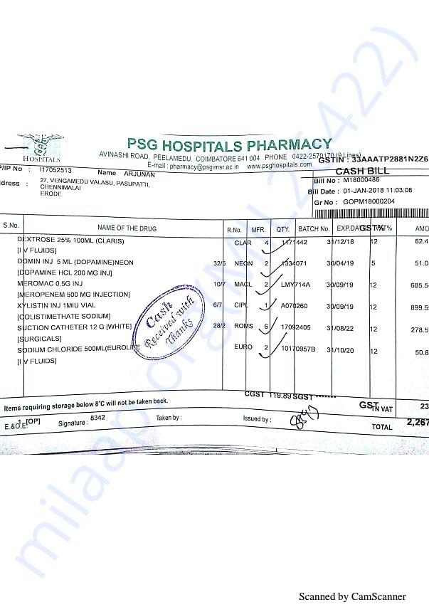 Pharmacy bills Jan part 1